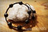 NativeHoney319 Frost onyx フロストオニキス 編みブレスレット
