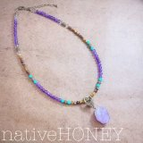 NativeHoney 186 Turquoise×Amethyst×Tigereye×Crystal=Necklace 愛とお守りと進みぬくネックレス